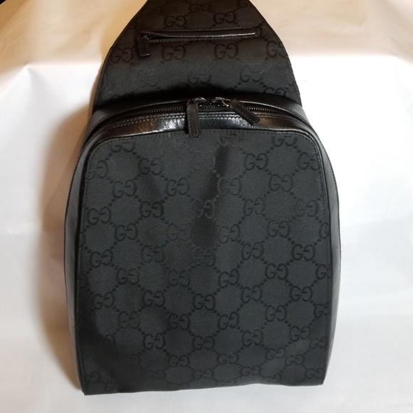 a93a906e10f Gucci Handbags - Gucci 2684 Black Nylon Canvas GG BackPack